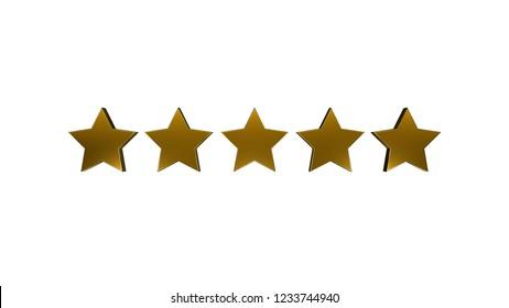 5 gold stars on white background. 3D render.