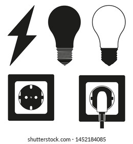 5 line art black and white electric elements set. Lightning, light bulb and plug in socket. Electricity themed illustration for icon, label, certificate, brochure, coupon or banner decoration