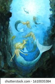 5 mermaid sisters swimming under the sea