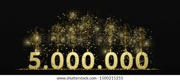 5 millions followers or prize black background 3D rendering