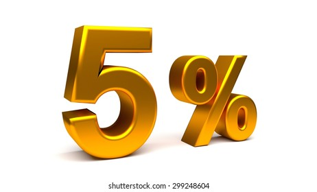 5% off. On sale. Reduced prices. Small interest rate. Rendered UHD 4K illustration of 3840x2160 pixels. Isolated 3D text with big golden fonts on white background.