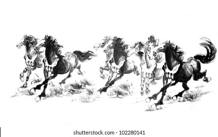 5 Oriental style painting of a running horse, Traditional chinese ink and wash painting.