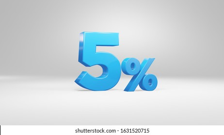 5 Percent in blue 3D font on white background for business, presentations 3D Render, high quality