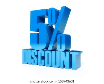 5 percent discount. Blue shiny text. Concept 3D illustration.