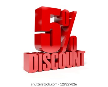 5 percent discount. Concept 3D illustration.