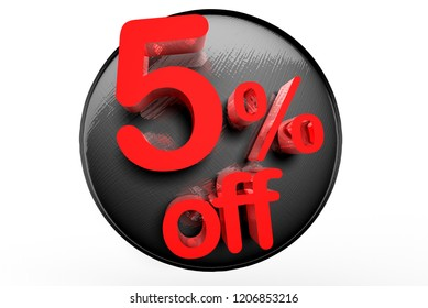 5 percent off 3D white background.