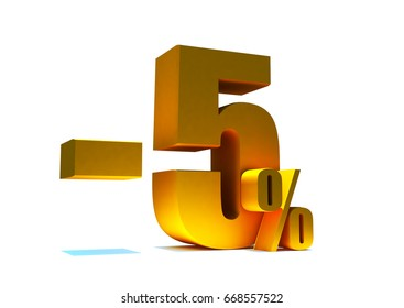 5 percent off. Gold metal letters on reflective floor, Discount 3d render. White background