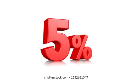 5% Red five percent on a white background. 3d render illustration.