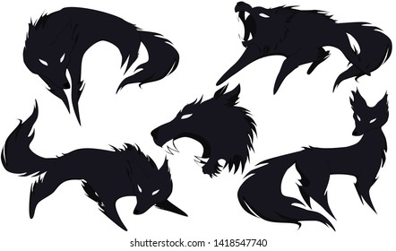 5 silhouettes of wolves options with a small share of the shadow