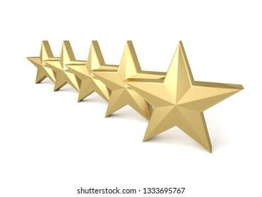 5 stars gold golden yellow quality success best 3D illustration
