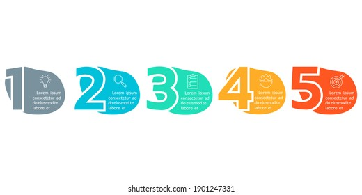 5 steps infographic elements with numbers and abstract shapes, fluid geometric elements. Timeline info graphic with business icons. Flow chart, layout, business workflow template.