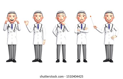 5 types of doctor poses by 3d rendering_1