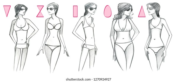 5 types of female figures in swimsuits and sunglasses. Pencil drawing isolated on white background