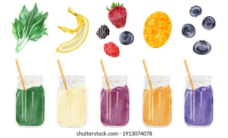 5 types of smoothies Hand-painted watercolor style illustrations