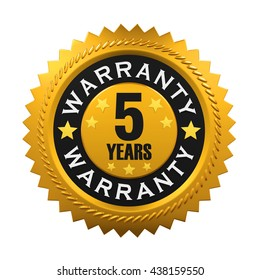 5 Years Warranty Sign. 3D rendering