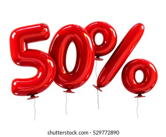 50% discount made of Red Balloons. sale concept. 3d rendering isolated on White Background