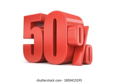 50% discount on sale. Fifty percent red isolated on white. 3d rendering. Illustration for advertising.