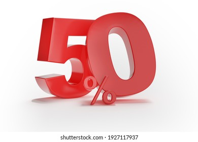 50% discount on sale. One hundred and five percent red isolated on white background. 3d rendering. Illustration for advertising.