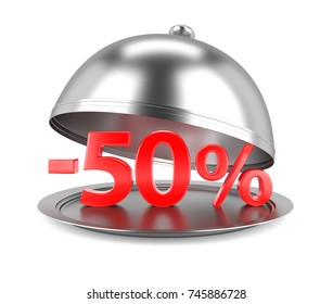 50% Discount red Sign on Restaurant Cloche. 3D Illustration