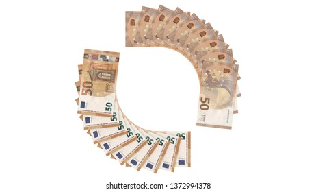 50 Euro 2017, money banknotes stack, arc, random sides, top view - High resolution 3d render Isolated on white background