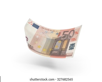 50 euro banknote in air . 3d illustration