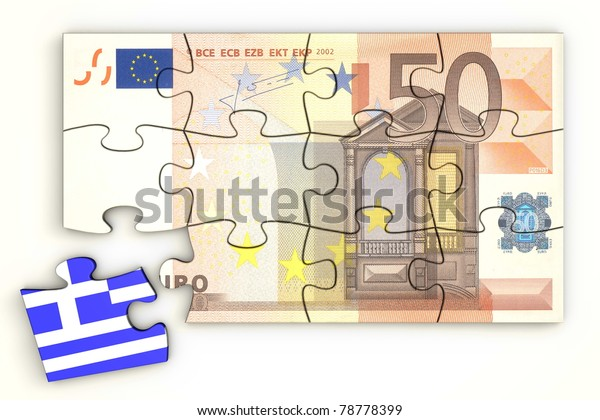 50 Euro note from top as a puzzle - one piece separately - extra piece with Greece / greek flag on it