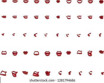 50 female mouth positions with red colored lips. Mouth positions to lip-sync dialogue / match phonemes for animation and illustration.