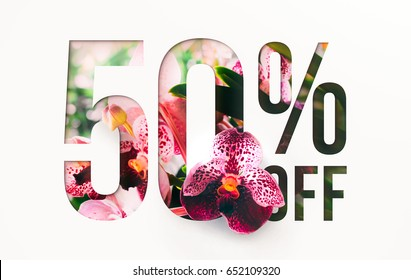 50% off discount promotion sale Brilliant poster, banner, ads. Precious Paper cut with real Orchid flowers and leaves. For your unique selling poster / banner promotion offer percent discount ads.