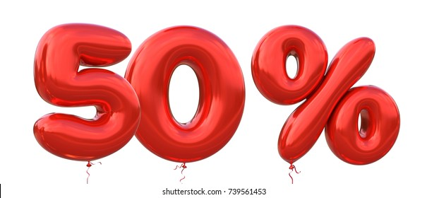 50% off discount promotion sale made of realistic 3d Red helium balloons. Illustration of balloon percent discount collection for your unique selling poster, banner ads ; Christmas, Xmas sale and more