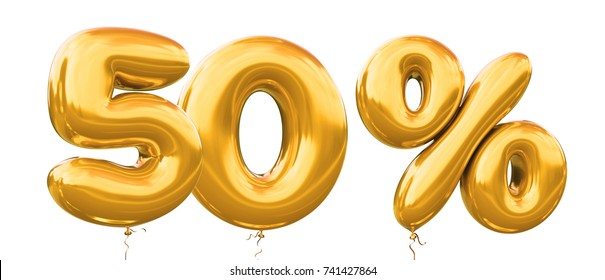 50% off discount promotion sale made of realistic 3d gold helium balloons. Illustration of balloon percent discount collection for your unique selling poster,banner ads ; Christmas, Xmas sale and more