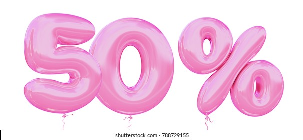 50% off discount promotion sale made of realistic 3d Pink helium balloons. Illustration of balloon percent discount collection for your unique selling poster, banner ads; Valentine's day sale and more