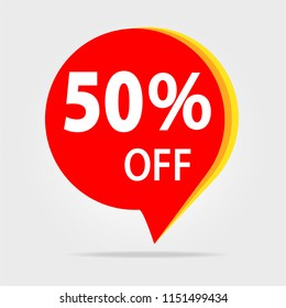 50% OFF Discount Sticker. Sale Red Tag Isolated Illustration. Discount Offer Price Label, Price Discount Symbol