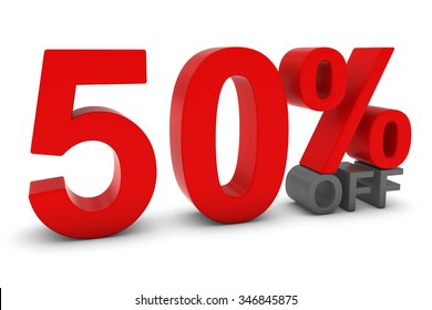 50% OFF - Fifty Percent Off 3D Text in Red and Grey