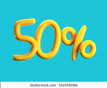 50% Off Price. Sale Concept Icon. 3d rendering isolated on Blue Background