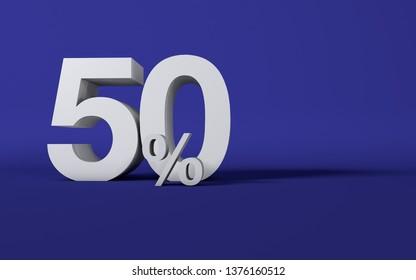 50 % per cent 3D number letter blue Studio background