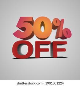 50 percent 3D image vector