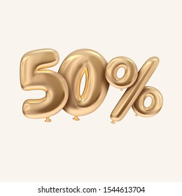 50 percent 3D rendering golden balloon style sale promotion banner in white background
