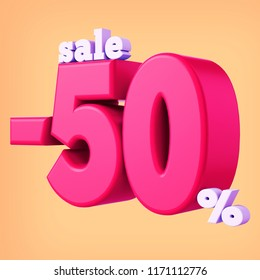 50 Percent Discount 3d Sign, 3d Render Text , Special Offer 50% Discount Tag, Sale Up to 50 Percent Off, Sale Symbol, Special Offer Label, Sticker, Tag, Badge, Emblem, 3d render text