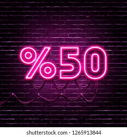 50 percent discount lettering with realistic Pink Neon Lights on brick background. Retro Design Elements for Presentations, Flyers, Leaflets, Posters or Postcards. 3D Illustration.