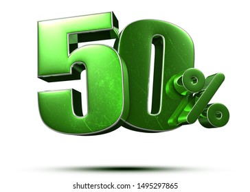 50 percent green 3d rendering on white background.(with Clipping Path).