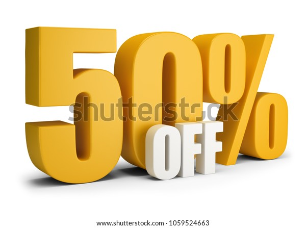 50 percent OFF. 3d image. White background.