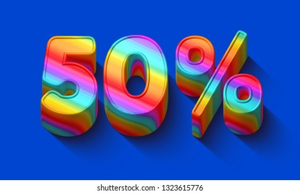50 percent sale discount with Dazzling rainbows number and supersaturated color background. Realistic 3D render vivid illustration for your brightest trendy sale ads, poster on hot Spring , Summer