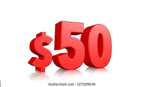 50$ price symbol. red text 3d  render with dollar sign on white background