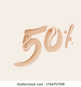 50 % sale cosmetic product banner foundation beige smear. Number fifty percent discount. 3d rendering.