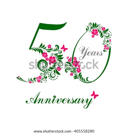50 Years Anniversary Happy Birthday Card Celebration Background With Number Fifty And Place For