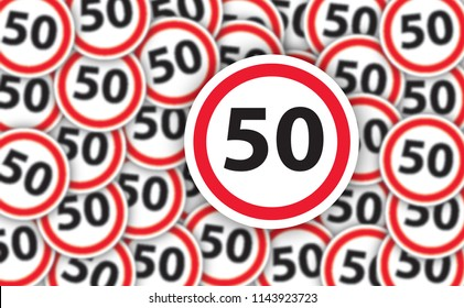 50 years old anniversary celebration people traffic No Ban stop sign signs signboard  banner wallpaper Happy Birthday cart card Congratulations Fifty years 50th wedding Caution road warning logo fun