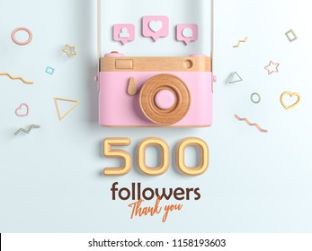 500 followers thank you, Pink Retro Photo Camera and multicolor Figures. 3D Illustration for Social Network friends, followers, Web user Thank you celebrate of subscribers.