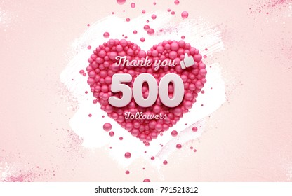 500 followers thank you Pink heart and red balloons, ball. 3D Illustration for Social Network friends, followers, Web user Thank you celebrate of subscribers or followers and likes.