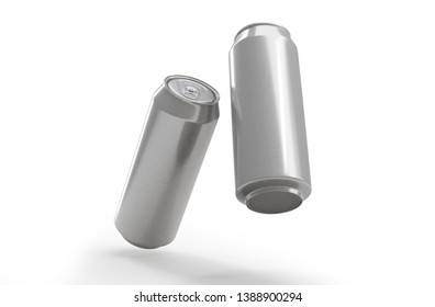 500 ml. Two aluminum cans in the air Isolated on white. 3D rendering