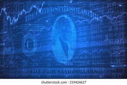 5000 Dollar Bills on Stock Market Ticker